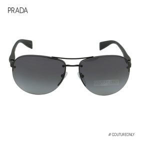 Prada Sport Linea Rossa Men Aviator Sunglasses SPS-56M-DG0-5W1 Black Rimless Polarized