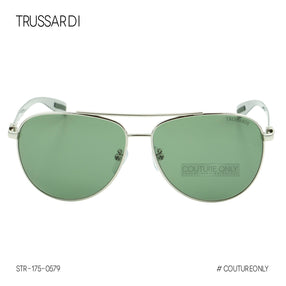 Trussardi STR-175-0579 Aviator Men Sunglasses Silver & Smoke Green Pilot Non-Polarized