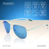 Trussardi STR-175-579B Aviator Men Sunglasses Silver Metal & Blue Flash Mirrored Lenses Non-Polarized