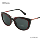 VE4336 Women Black & Red Full Rim Oval Cat Eye Sunglasses 56mm