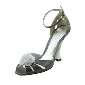 Giorgio Armani  Gray & Silver Patent Leather Wedge Dress Sandals