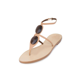 Giorgio Armani  Brown Leather Crystals Embellished Flat Sandals