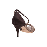 Giorgio Armani  Brown Satin D'Orsay Peep-Toe Pumps