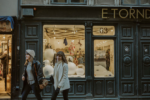 Katie and Lisa of Dressing Vintage in Stockholm Sweden During the Winter of 2016