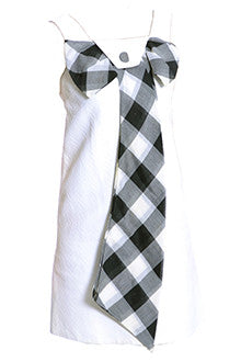 1960s White Dress with Black and White Plaid Bow