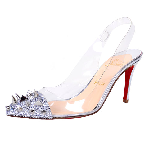 Christian Louboutin Spiked Silver Shoes Red Soles