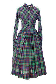 Claire McCardell Vintage Green and Purple Plaid Dress