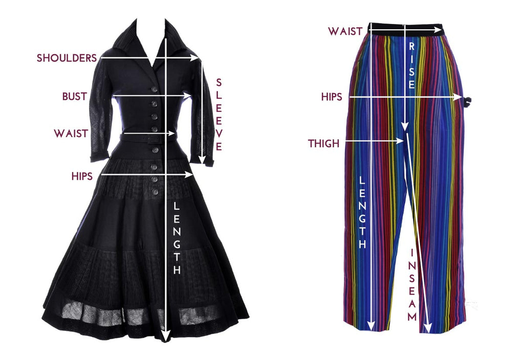 Vintage dress and pant size guide measurement chart