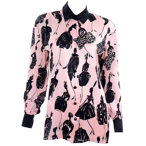 Vintage Escada pink and black novelty silk blouse