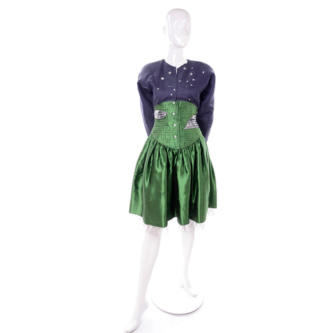 Vintage Rare Geoffrey Beene Green and Blue 2pc Dress