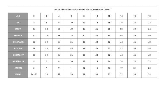 Women's Clothing International Size Conversion Chart