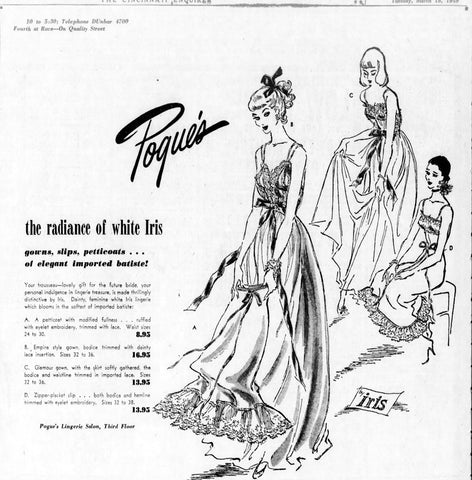 1949 Pogue Iris Lingerie Sylvia Pedlar Advertisement