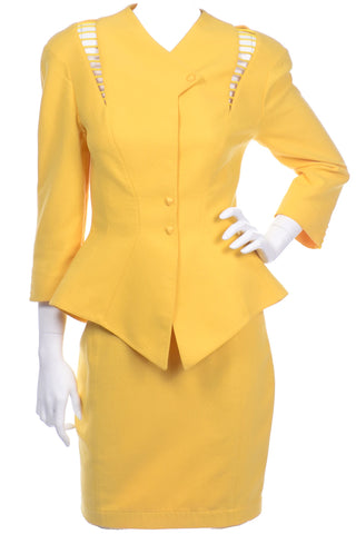 Vintage Thierry Mugler Yellow Monochromatic Skirt Suit with cutouts