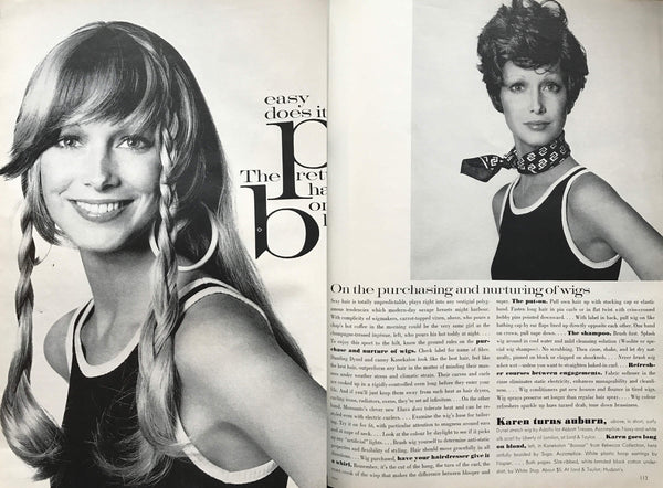 Vintage 1971 Vogue article about wigs