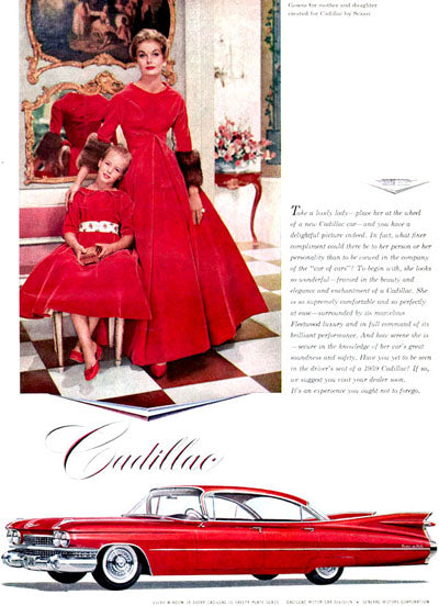 Arnold Scaasi vintage dresses for a mother and daughter in an ad for Cadillac
