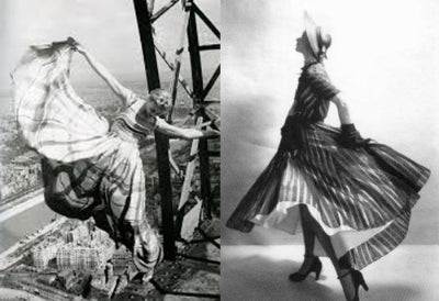 Lisa Fonssagrives Penn twirling for Erwin Blumenfeld on the Eiffel Tower and for Irving Penn