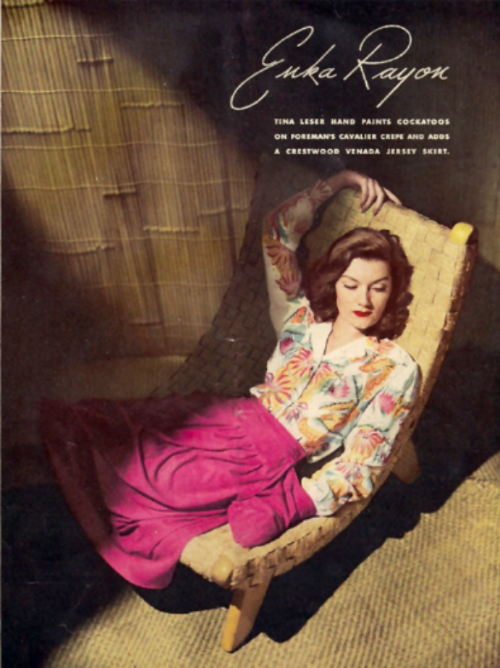 Tina Leser hand painted blouse in a vintage ad for Enka rayon.