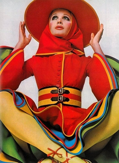 Gerard Pipart designed ensemble for Nina Ricci photographed by David Bailey in 1968
