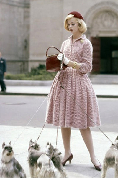Anne Fogarty, dress, velvet hat by Emme and alligator bag by Lucille, photo by Sante Forlano, New York City, 1959