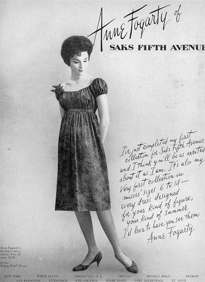 Anne Fogarty Ad in Vogue 1958