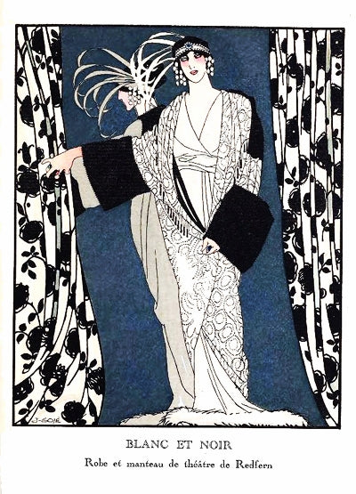 Gose 1913 Art Deco Pochoir. - Blanc et Noir - Redfern fashion plate