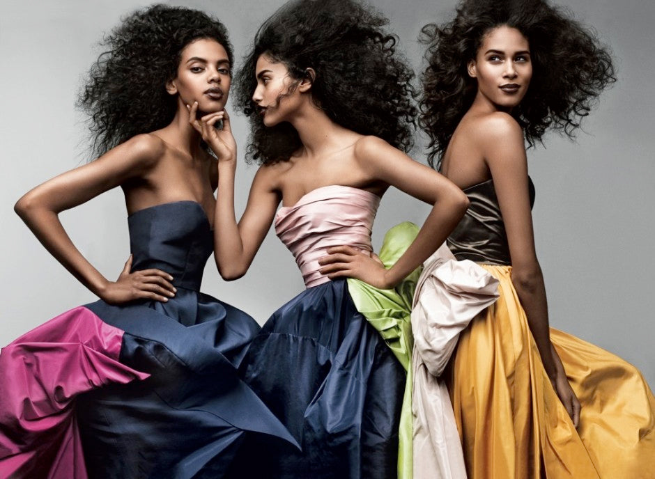 Grace Mahary, Imaan Hammam and Cindy Bruna in Oscar de la Renta Vogue March 2014