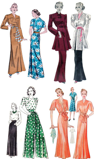 Vintage patterns from the 1930's and 1940's for loungewear, hostess gowns and hostess pajamas