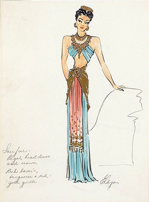 Vera West costume sketch for Maria Montez as Tollea in Cobra Woman Universal, 1944
