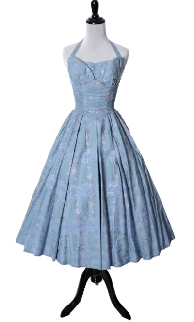 Alfred Shaheen 1950s smock pleated halter dress