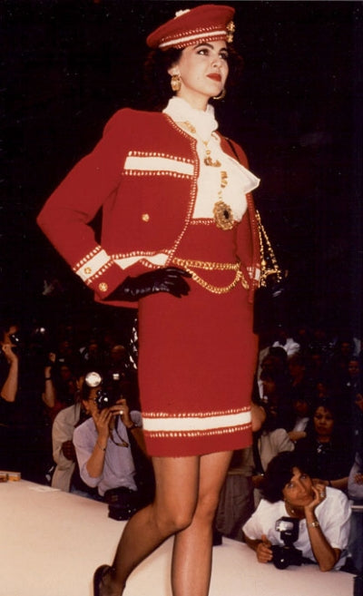 L'Wren Scott as a model in her first Chanel Couture fashion show