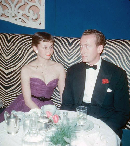 Audrey Hepburn at El Morocco in 1952 with then fiance James Hanson