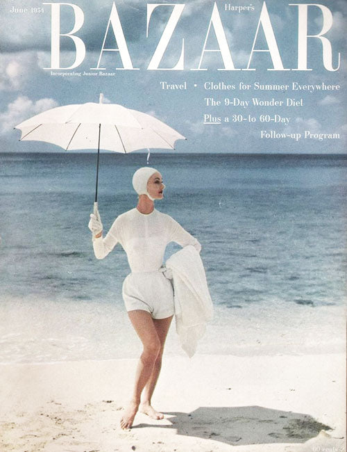 June 1954 Harper's Bazaar Playsuit and matching umbrella