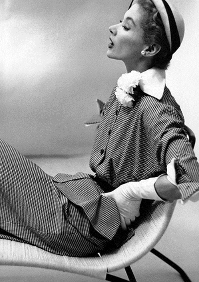 1951 Fashion photograph by Frances McLaughtin Gill  of Lisa Fonssagrives wearing Lilly Daché hat