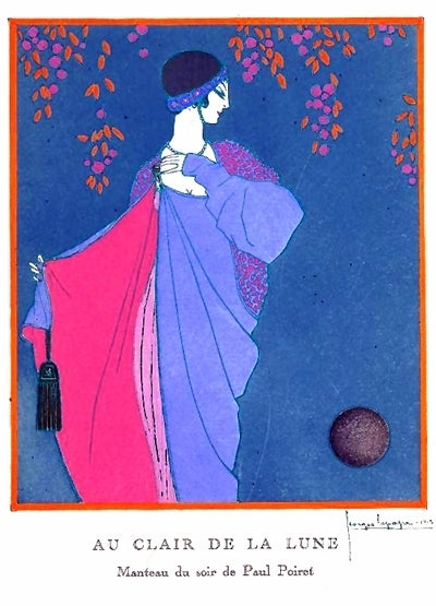 George LePape illustration of Paul Poiret dress Au Clair De La Lune