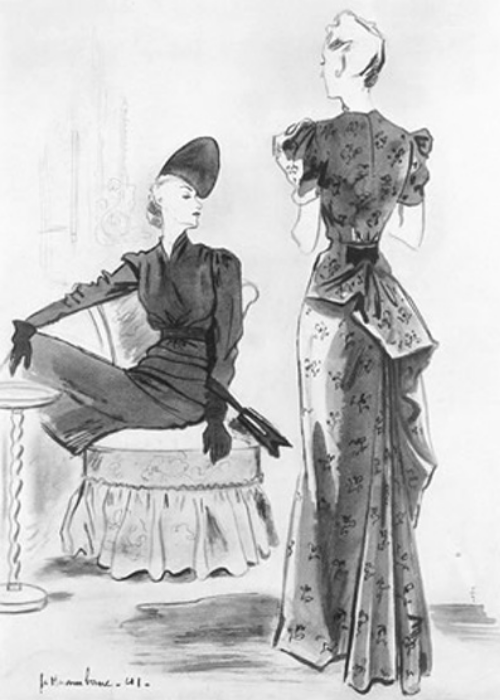 Vintage Schiaparelli 1941 Haramboure illustration of vintage dresses in Ducharne silk fabric
