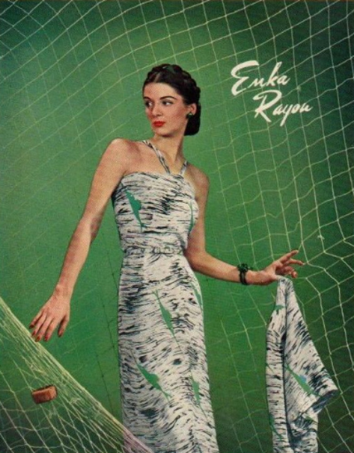 Novelty print 1940s dress shown in an advertisement for Enka Fabrics
