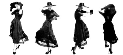 Lisa Fonssagrives twirling in black