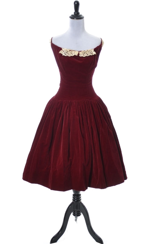 Leon Frank 1950's vintage red velvet party dress