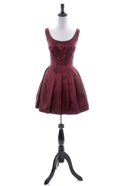 ABS short party dress with full pleated skirt
