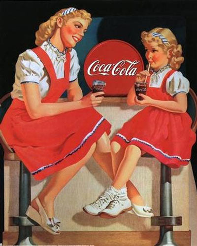 Vintage Coca Cola Ad featuring mother and daughter in matching dresses