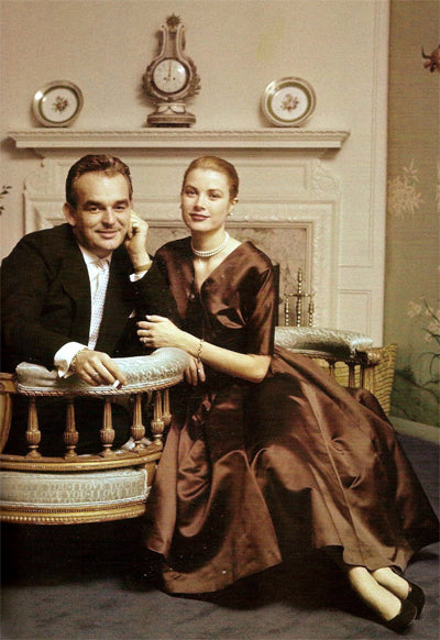 Grace Kelly and Prince Rainier in their engagement photo