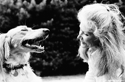 Priscilla Rattazzi photograph of Lisa Fonssagrives and dog Melilotus in 1991