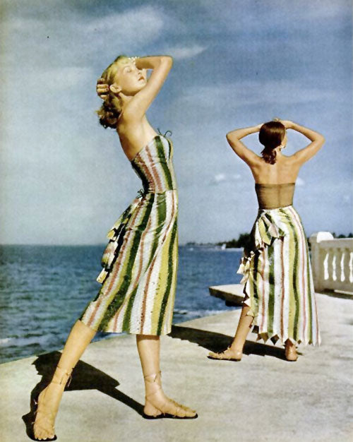 Claire McCardell beach ensembles photographed by Louise Dahl-Wolfe for Harper's Bazaar 1942