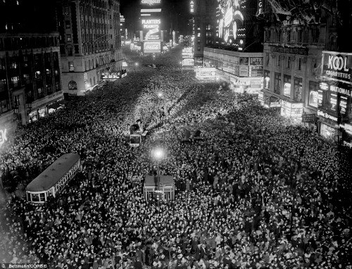 New Year's Eve in New York's Time Square in the 1930's