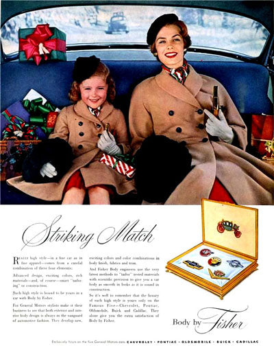 Body By Fisher ad with Mother and Daughter wearing matching coats.