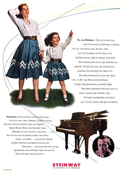 Steinway Grand Piano advertisement featuring mother and daughter in matching outfits.
