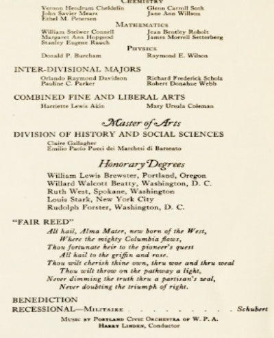 Emilio Paolo Pucci dei Marchesi di Barsento - commencement program from Reed College