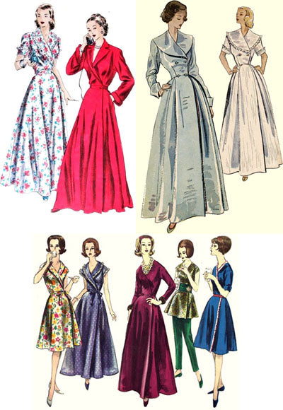 Vintage patterns from the 1950's and 1960's for loungewear and hostess gowns