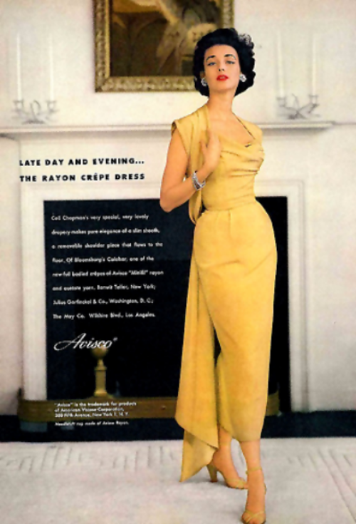Ceil Chapman gold evening gown in a 1955 Avisco fabric advertisement featuring model Dorian Leigh
