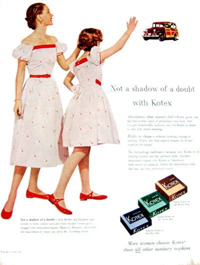 Vintage Kotex advertisement featuring mother and daughter in matching dresses